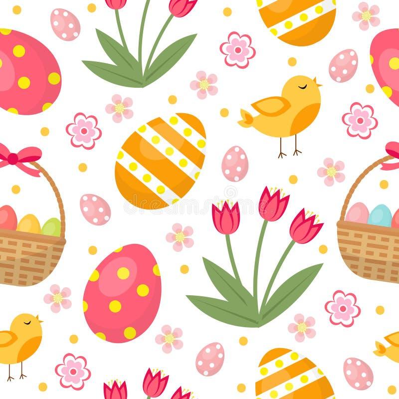 Nettes Nahtloses Muster Ostern Mit Eiern Im Korb, In Den Vögeln Und ...