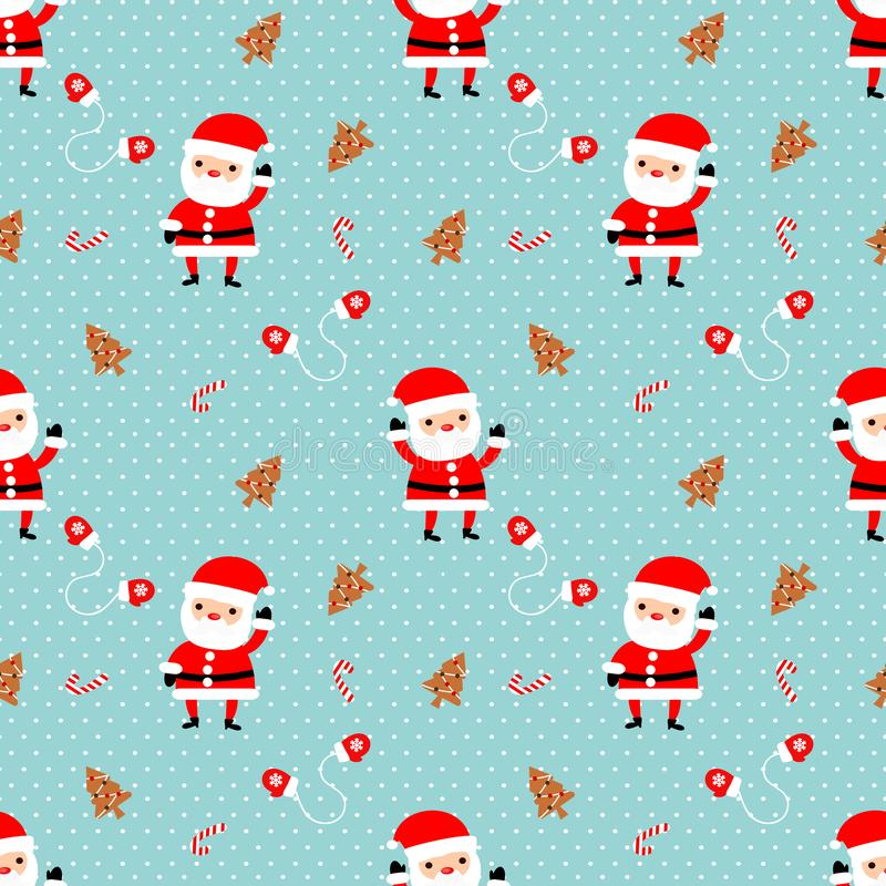 Nettes nahtloses Muster Santa Clauss Nettes Weihnachtskonzept lizenzfreie abbildung