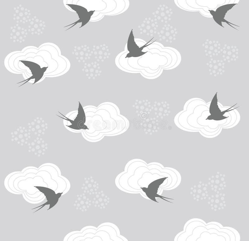 Nettes nahtloses Schwalben- und Wolkenmuster stock abbildung