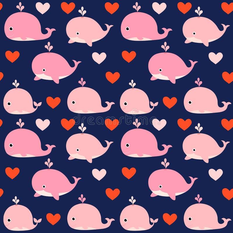 Nettes nahtloses Vektormuster mit rosa Walen lizenzfreie abbildung