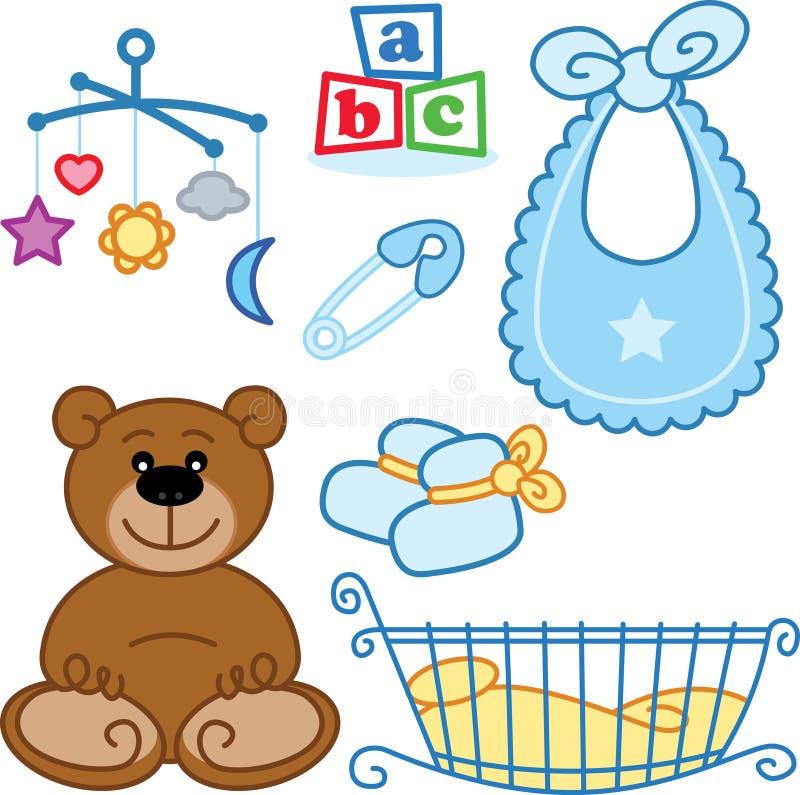 Nettes neugeborenes Schätzchen spielt grafische Elemente. lizenzfreie abbildung