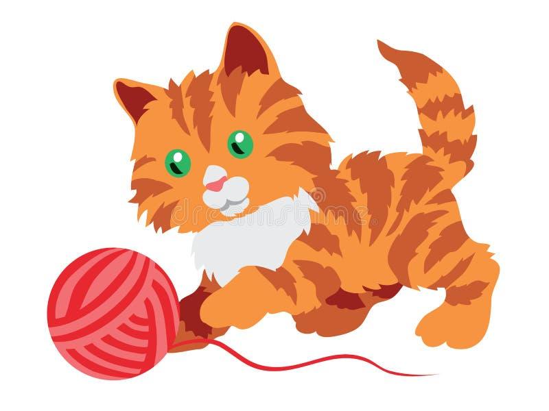 Nettes orange Kätzchen, das mit einer Schlaufe lokalisiert auf Weiß spielt vektor abbildung