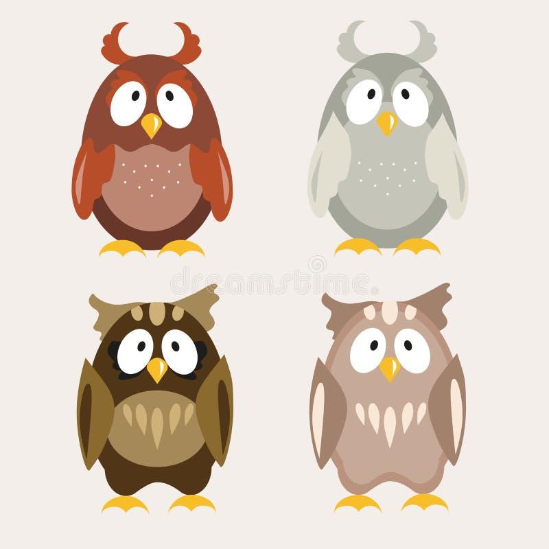 Nettes Owl Flat Vector Illustration vektor abbildung