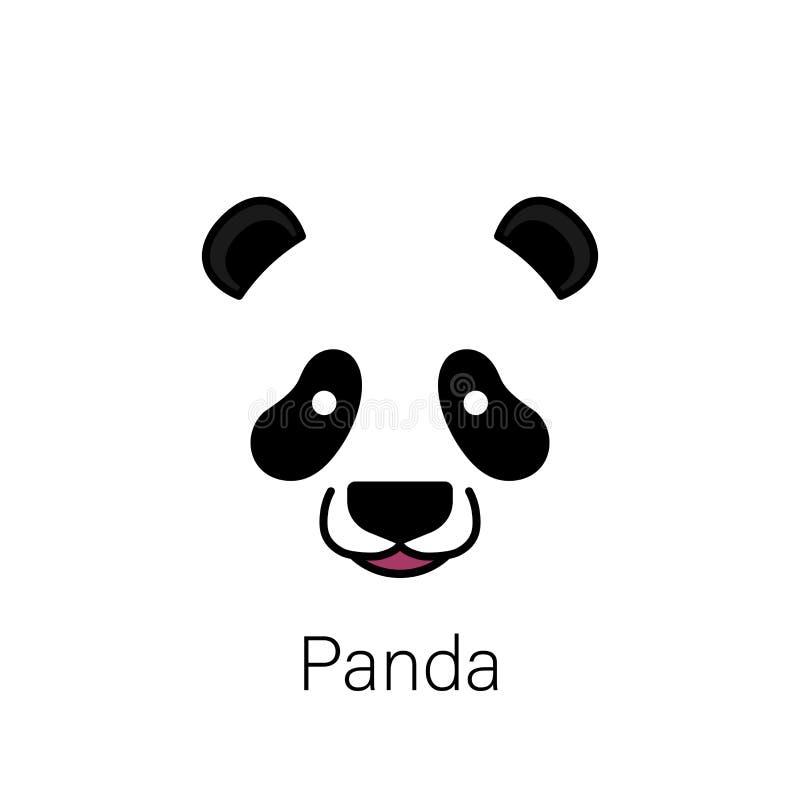 Nettes Pandagesicht lokalisiert auf weißem Hintergrund stock abbildung