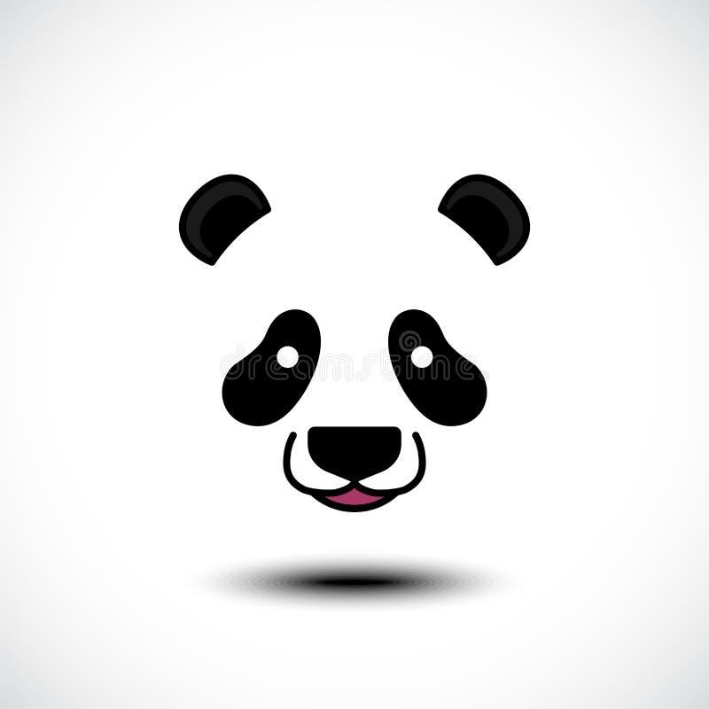 Nettes Pandagesicht lokalisiert auf wei?em Hintergrund lizenzfreie abbildung