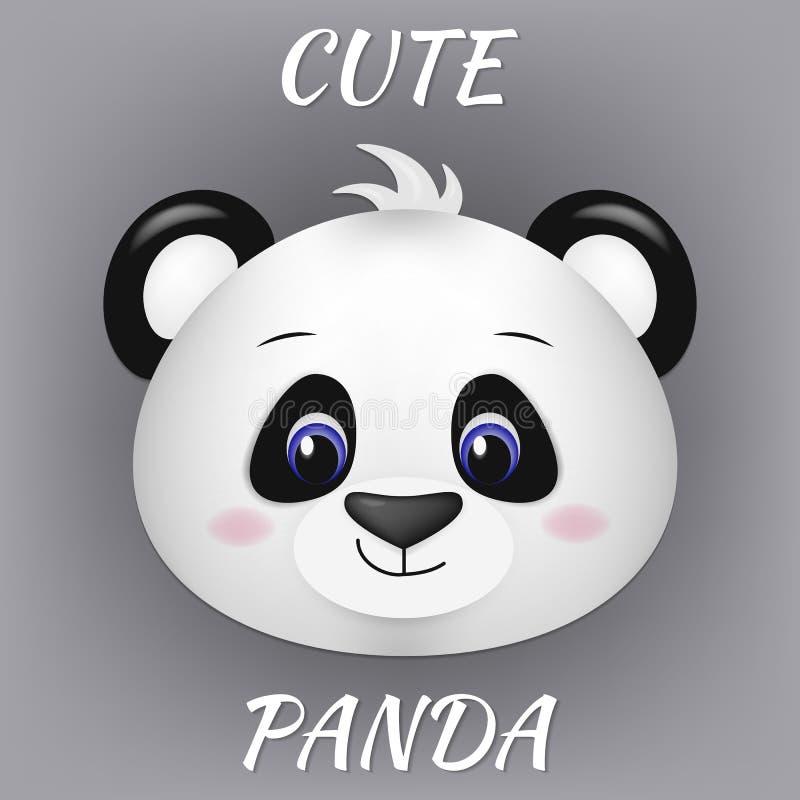 Nettes Pandagesicht mit blauen Augen in der Karikaturart Vektorillustration eines Pandabärnkopfes unter Verwendung einer Steigung lizenzfreie abbildung