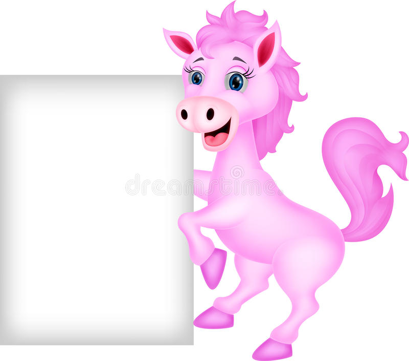 Nettes Pferd mit leerem Zeichen vektor abbildung