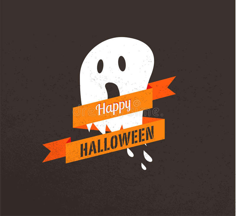 Nettes Plakat Halloweens mit Geist vektor abbildung