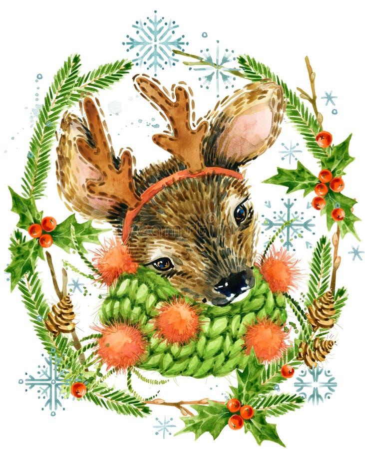Nettes Ren Sankt Klaus, Himmel, Frost, Beutel Waldtier Aquarellwinter-Waldillustration lizenzfreie abbildung