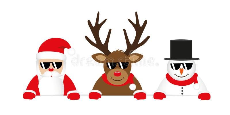 Nettes Ren Weihnachtsmann und Schneemannkarikatur mit Sonnenbrille für Weihnachten lizenzfreie abbildung