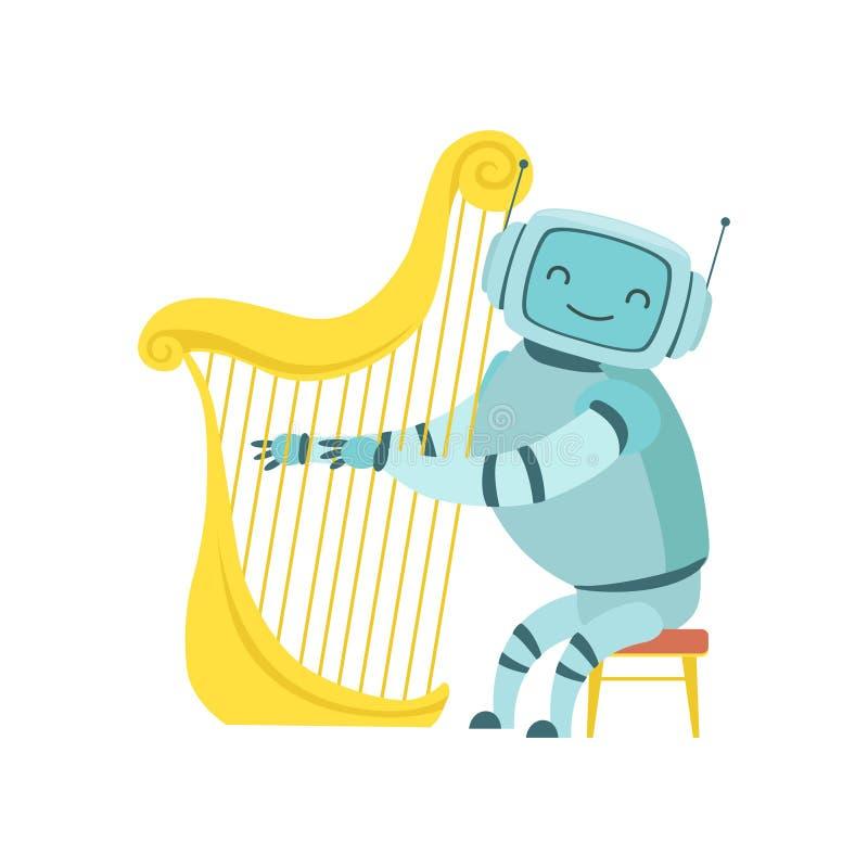 Nettes Roboter-Musiker-Playing Harp Musical-Instrument, Vektor-Illustration lizenzfreie abbildung