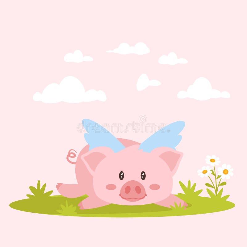 nettes rosa Lügenschwein mit Flügeln stock abbildung