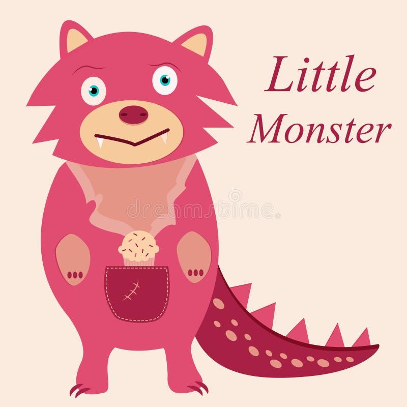 Nettes rosa Monster mit Reißzähnen vektor abbildung