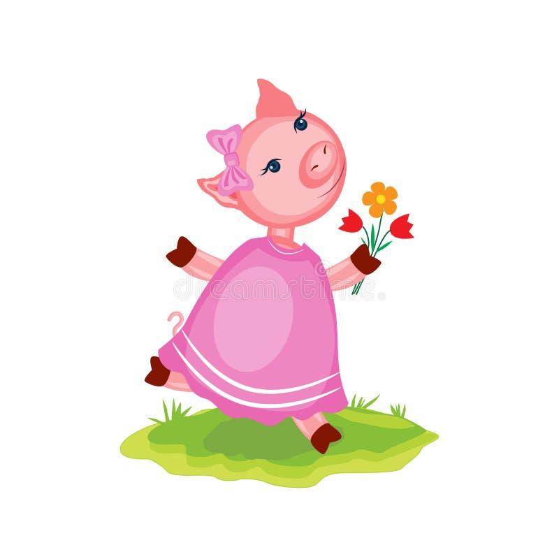Nettes rosa Schwein der Karikatur im Kleid, das in grünes Gras, Haustier des bunten Vektorillustrationslandwirts, Charakter läuft stock abbildung