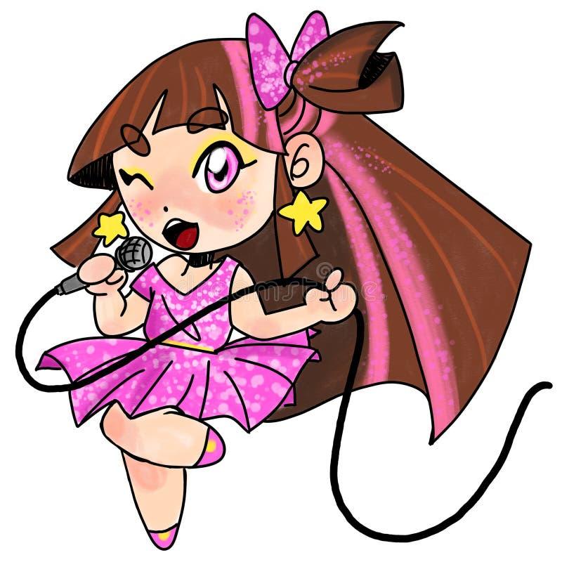 Nettes rosa Superstarmädchen stock abbildung