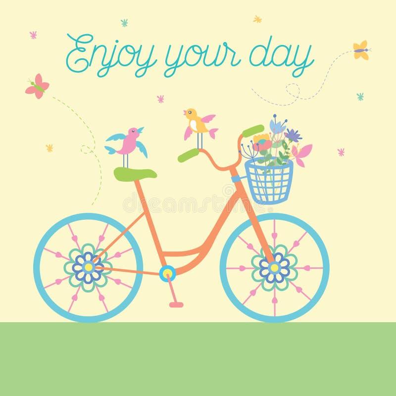 Nettes schönes Fahrrad mit Vögeln und Blumen und dekorative Räder Auch im corel abgehobenen Betrag vektor abbildung