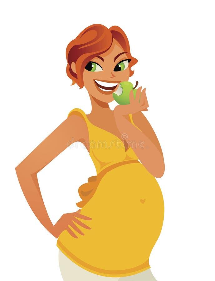 Nettes schwangeres gesundes Essen lizenzfreie abbildung
