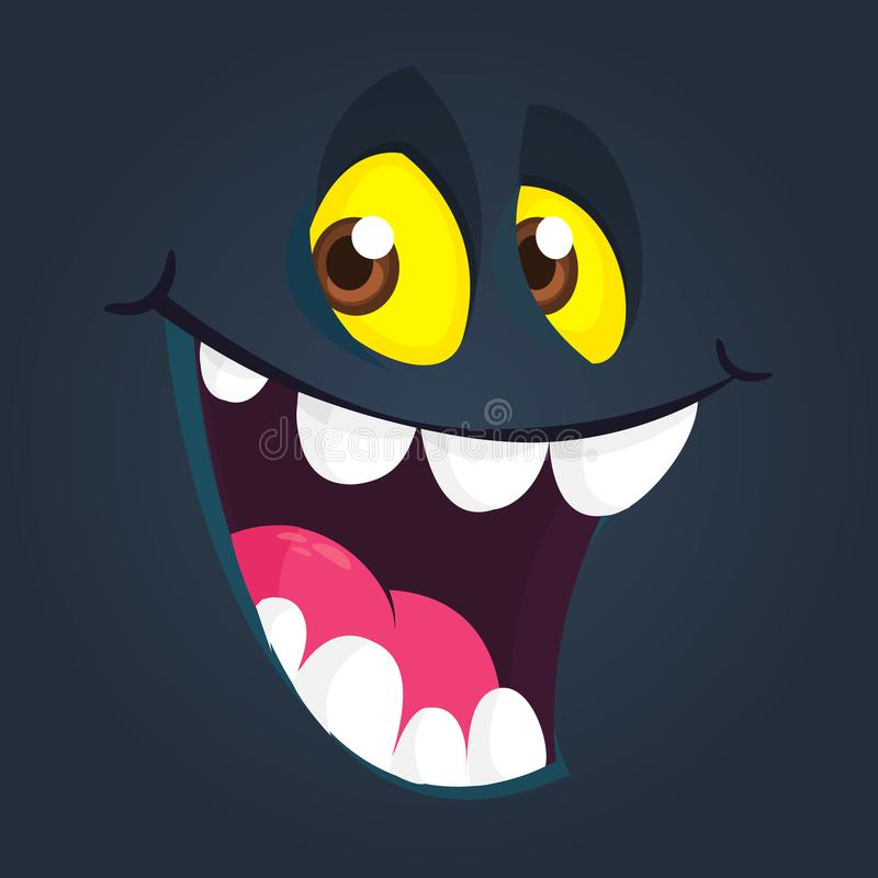 Nettes schwarzes Karikaturmonster-Gesichtslächeln Vektor-Halloween-Monsteravataralachen lizenzfreie abbildung