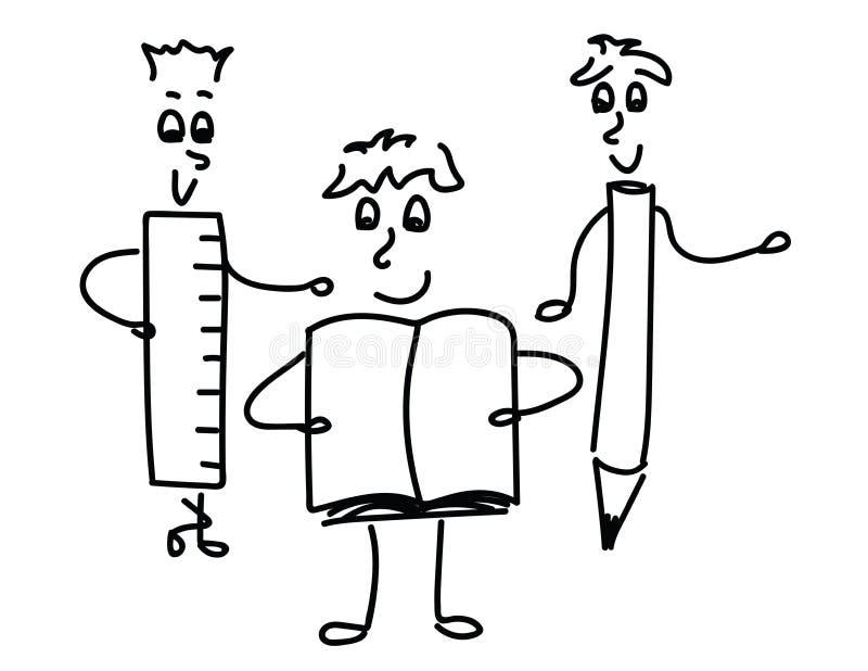 Nettes Schwarzweiss--Doole stellt Notizbuch, Bleistift, Machthaber dar lizenzfreie abbildung