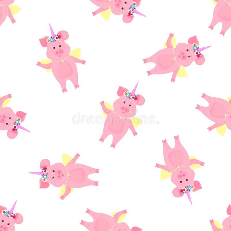 Nettes Schwein in einem Kost?m eines M?rcheneinhorns mit einem Horn und ein Blumenkranz und -fl?gel Lustiges tierisches nahtloses vektor abbildung