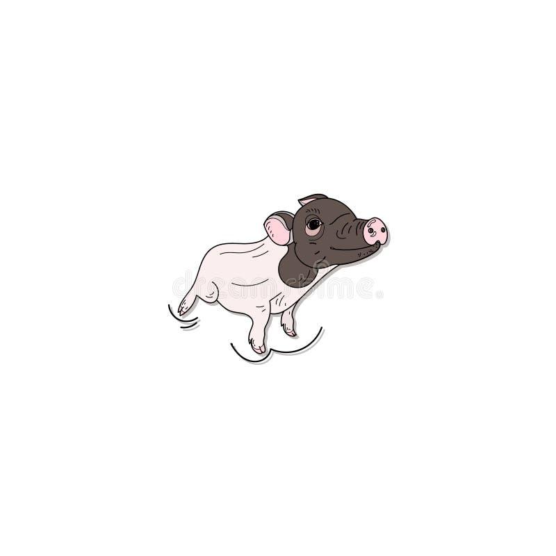 Nettes Schwein lokalisiert auf weißem Hintergrund stock abbildung