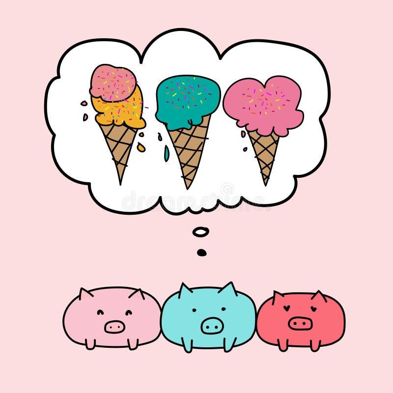 Nettes Schwein und Blasen mit Eiscreme lizenzfreie abbildung