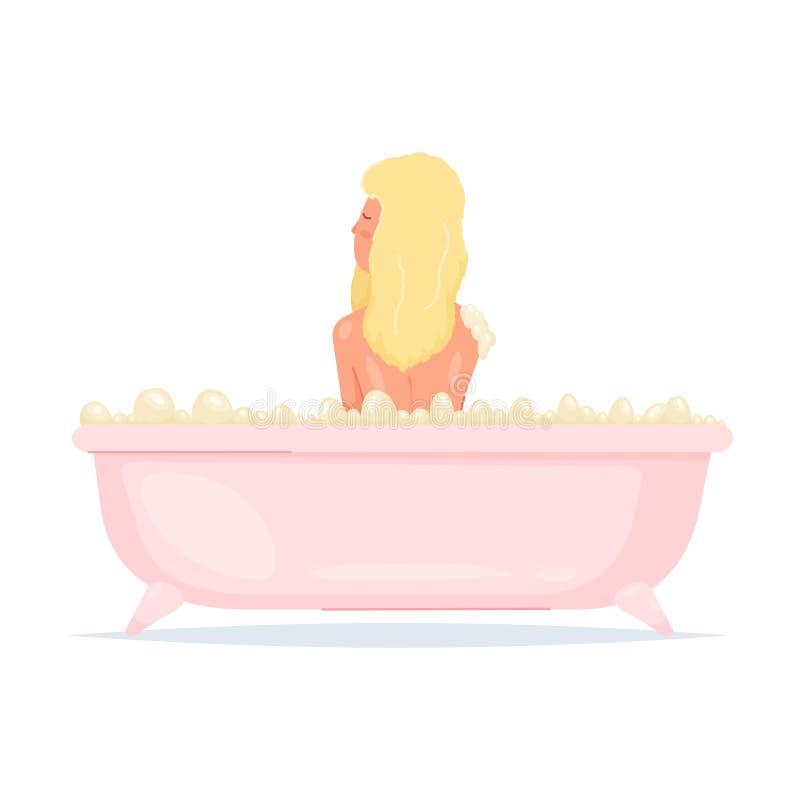 Nettes sexy blondes Mädchen soll ein Bad in der rosa Badewanne nehmen vektor abbildung