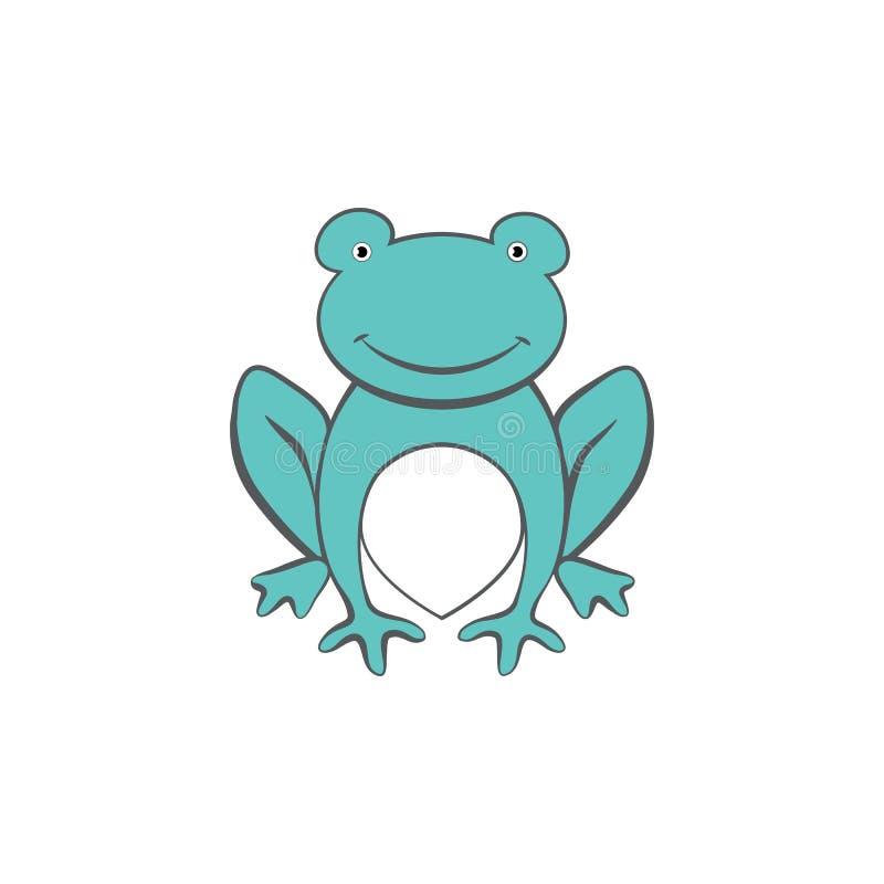 Nettes Sitzen des grünen Frosches der Zookarikatur, vector das bunte lustige Illustrationskindertier, das auf weißem Hintergrund  lizenzfreie abbildung