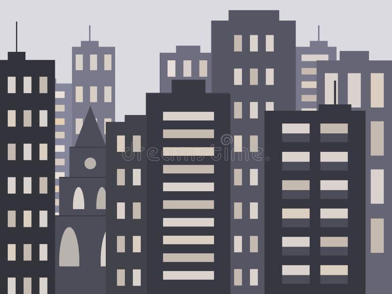 Nettes städtisches Stadtbild am Abend oder nachts: moderne Häuser, Gebäude und Kirche oder Kathedrale lizenzfreie abbildung