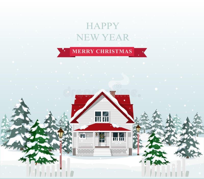Nettes stilvolles europäisches Haus verziert für Weihnachten Frohe Weihnacht-Landschaft Auch im corel abgehobenen Betrag vektor abbildung