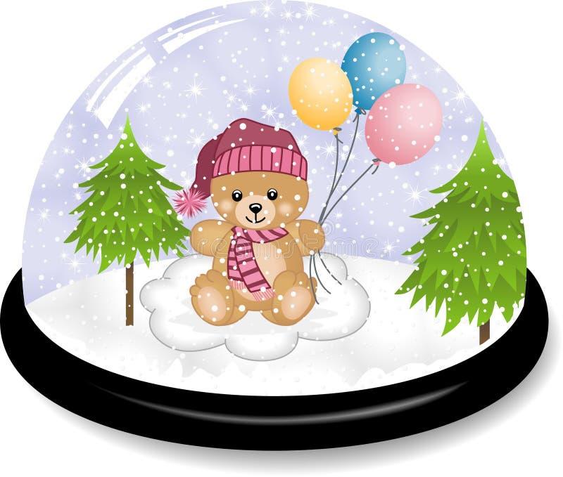 Nettes Teddybär snowdome stock abbildung
