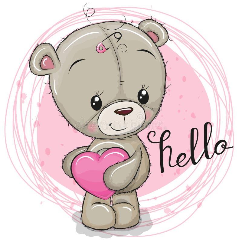 Nettes Teddybärmädchen mit Herzen stock abbildung