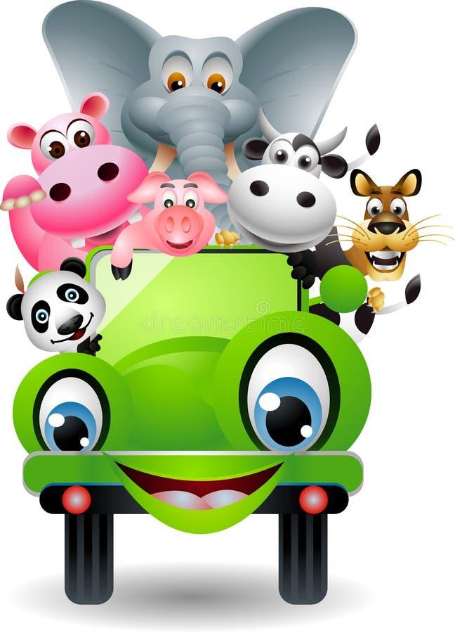 Nettes Tier auf grünem Auto stock abbildung
