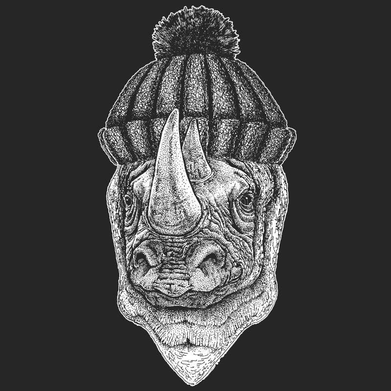 Nettes Tier, das gestricktes Winterhut Nashorn, gezeichnete Illustration des Nashorns Hand für Tätowierung, Emblem, Ausweis, Logo vektor abbildung