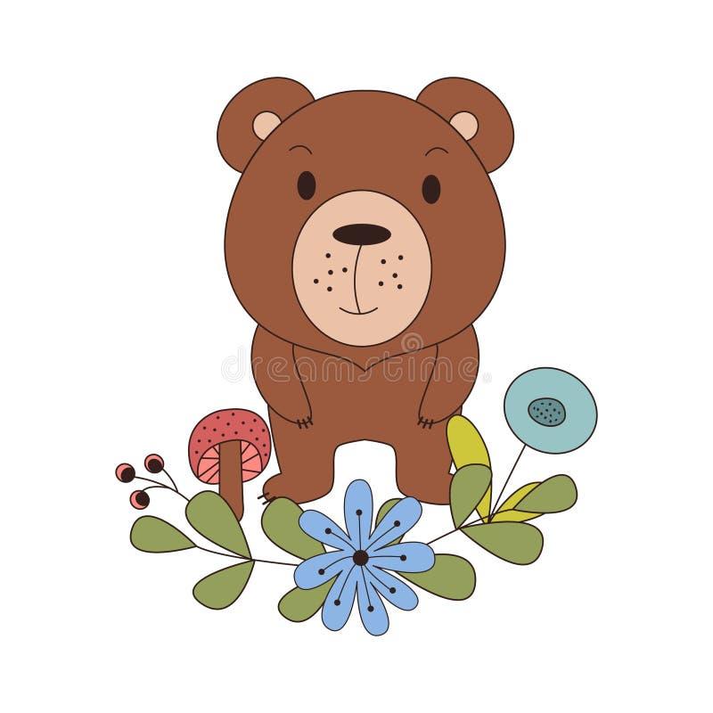 Nettes Tier in der Karikaturart Waldbär mit Waldgestaltungselementen Auch im corel abgehobenen Betrag vektor abbildung