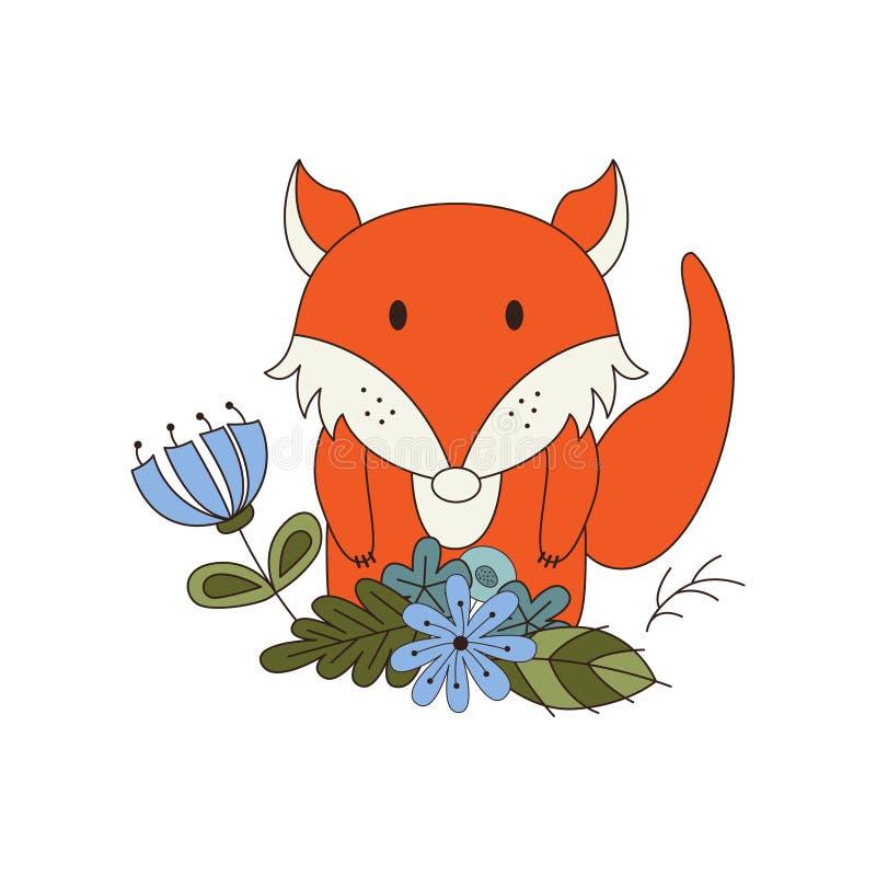 Nettes Tier in der Karikaturart Waldfuchs mit Waldgestaltungselementen Auch im corel abgehobenen Betrag stock abbildung