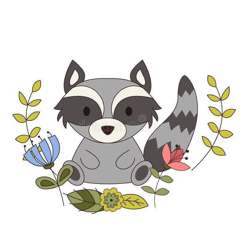 Nettes Tier in der Karikaturart Waldwaschbär mit Waldgestaltungselementen Auch im corel abgehobenen Betrag vektor abbildung
