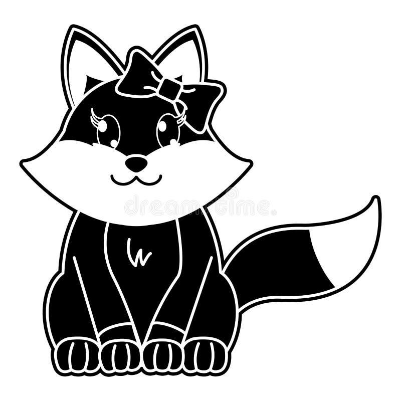 Nettes Tier der Schattenbildfähe mit Bandbogen lizenzfreie abbildung