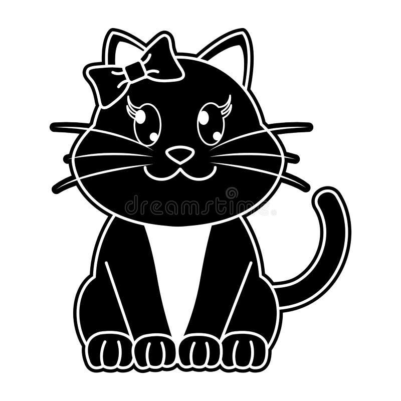 Nettes Tier der weiblichen Katze des Schattenbildes mit Bandbogen lizenzfreie abbildung