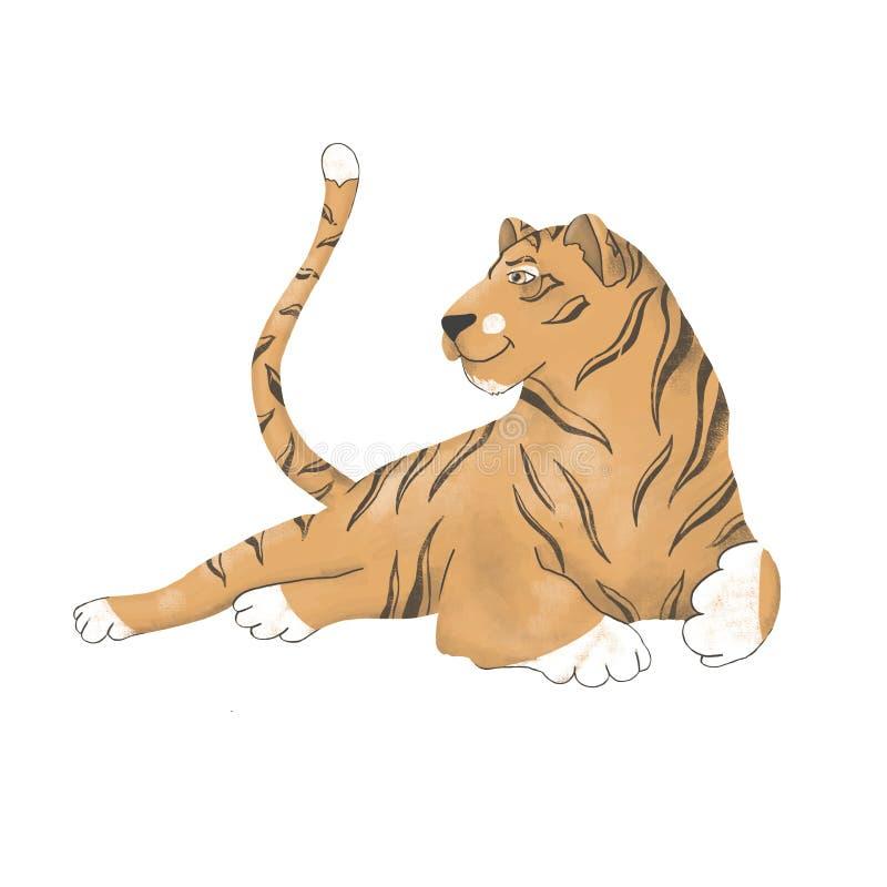 Nettes Tier des digitalen Cliparts des Tigers vektor abbildung