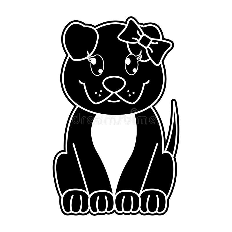 Nettes Tier des Schattenbildes weiblicher Hundemit Bandbogen stock abbildung