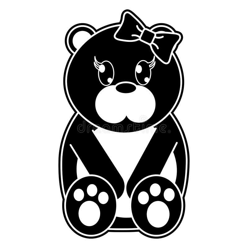 Nettes Tier des weiblichen Bären des Schattenbildes mit Bandbogen stock abbildung