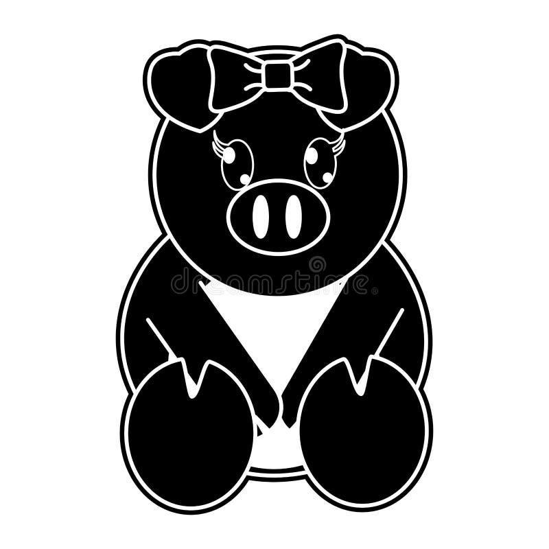 Nettes Tier des weiblichen Schweins des Schattenbildes mit Bandbogen stock abbildung