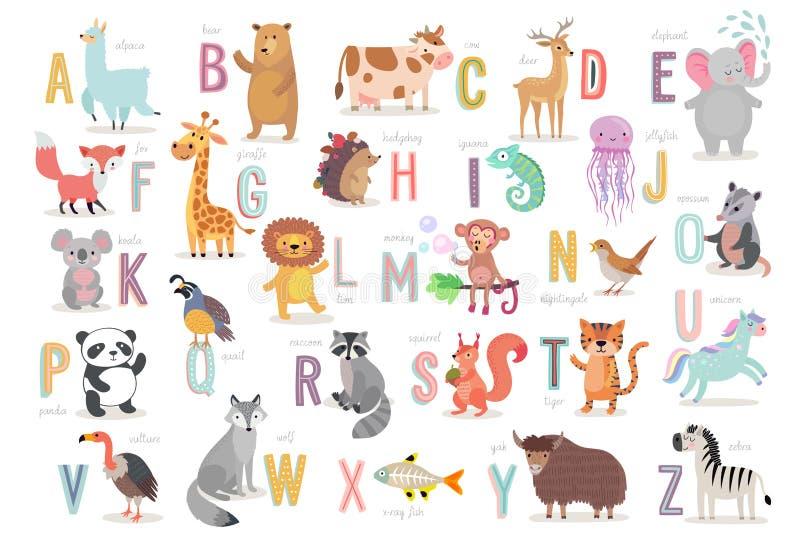 Nettes Tieralphabet für Kinderbildung Lustige Hand gezeichnete Artcharaktere stock abbildung