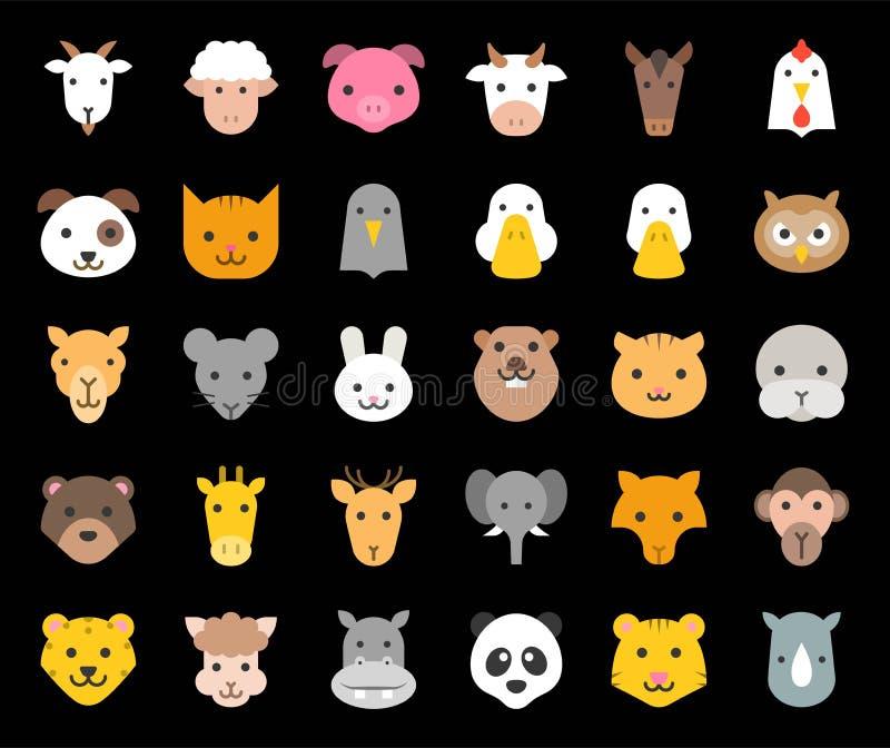Nettes Tiergesicht schloss Bauernhof, Wald und afrikanische Tiere, flachen Entwurf mit ein stock abbildung