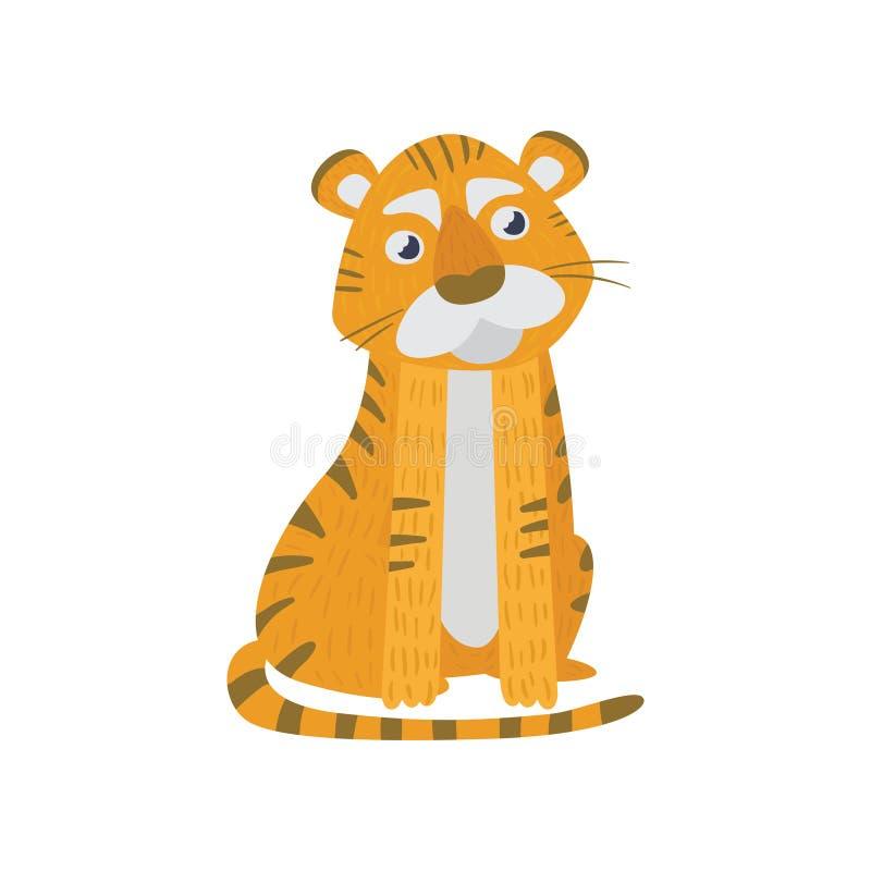 Nettes Tigersitzen lokalisiert auf Weiß Tier der wilden Orange mit schwarzen Streifen Zoo- und Tierkonzept Flacher Vektor stock abbildung