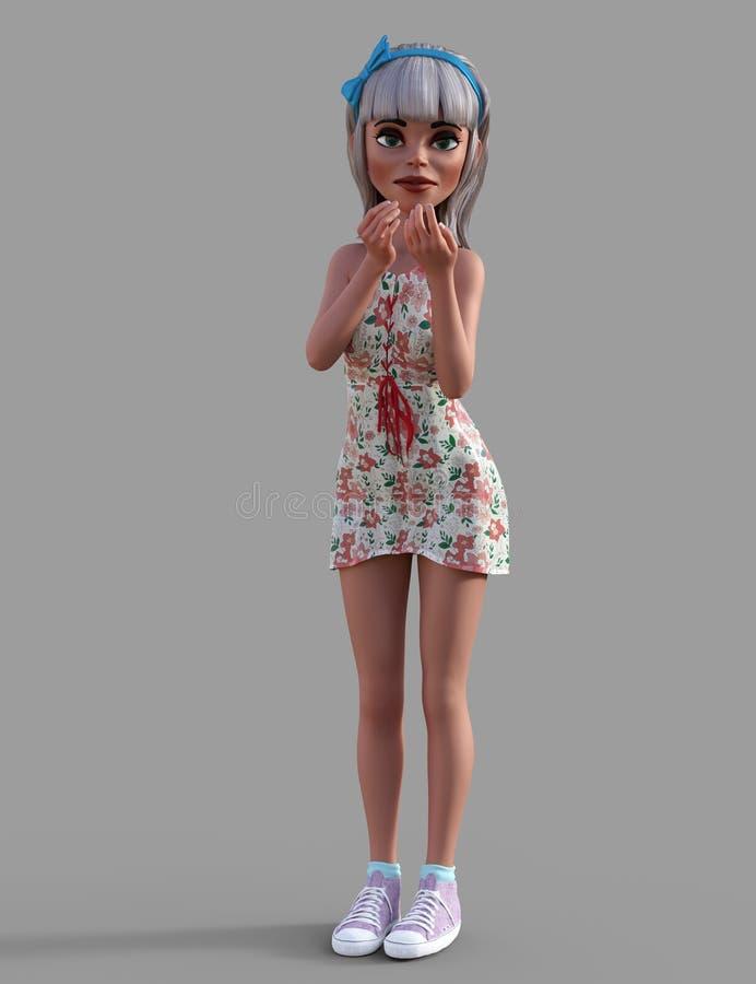 Nettes Toon-Mädchen stock abbildung