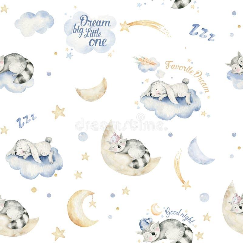 Nettes träumendes nahtloses Muster Karikaturdes tierhandgezogenen Aquarells Schlafen charecher Kinderkindertagesstättenabnutzungs lizenzfreie abbildung