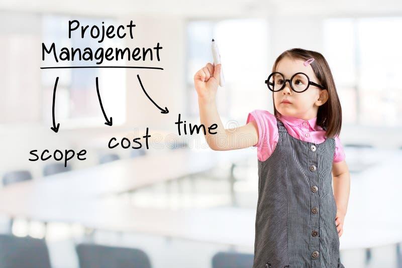 Nettes tragendes Geschäftskleid des kleinen Mädchens und Schreiben des Projektleiterkonzeptes Bürohintergrund stockbilder