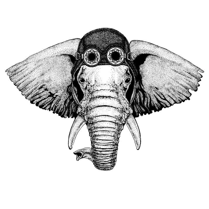 Nettes tragendes Tiermotorrad, Fliegersturzhelm gezeichnete Illustration afrikanischen oder indischen Elefanten Hand für Tätowier vektor abbildung